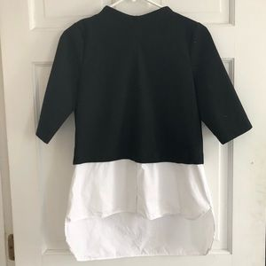 Zara Black and White Button Up Layered Top